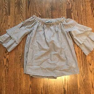 Off the shoulder 3/4 sleeve linen striped top